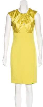 St. John Silk-Paneled Sheath Dress