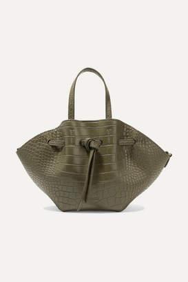 Nanushka Lynne Mini Croc-effect Faux Leather Tote - Army green