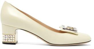 Gucci Madelyn Crystal Embellished Leather Pumps - Womens - White