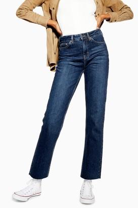 Topshop Womens Indigo Raw Hem Straight Leg Jeans - Indigo