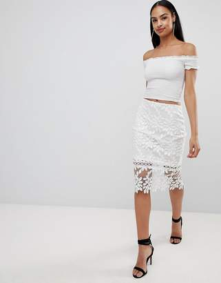 Missguided premium lace midi skirt