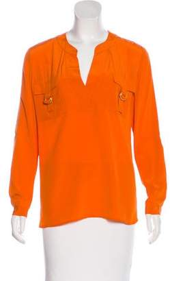 Diane von Furstenberg Long Sleeve V-Neck Top
