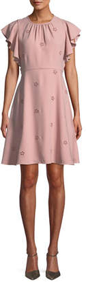 Kate Spade Cutout Crepe Dress W/ Flutter Sleeves