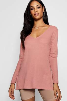 boohoo Lily V Neck Rib Knit Jumper