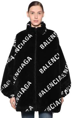 Balenciaga LOGO PRINTED ZIP-UP FAUX FUR JACKET
