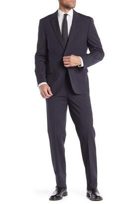Nautica Black Navy Mini Stripe Two Button Notch Lapel Suit