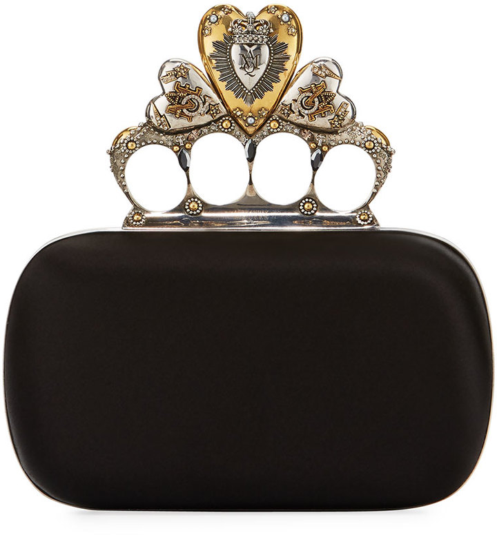 Alexander McQueen Alexander McQueen Heart Knuckle Short Box Clutch Bag, Black
