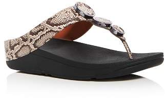 FitFlop Women's Halo Embellished Snake Embossed Leather Platform Thong Sandals