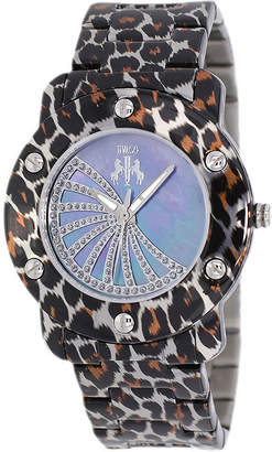 Jivago Womens Purple Faux Pearl Dial Feline Brown Stainless Steel Watch