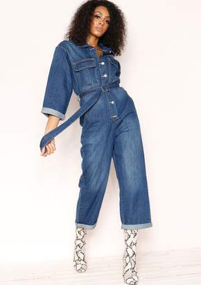 113f95f7b2 Missy Empire Missyempire Leah Denim Utility Belted Jumpsuit