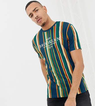 Asos DESIGN Tall relaxed t-shirt with vertical stripe and city text print