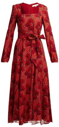 Borgo de Nor Annabella Cheetah Print Crepe Dress - Womens - Red Print