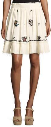 Derek Lam 10 Crosby Embroidered Silk Mini Skirt, Cream