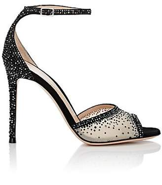 Gianvito Rossi Women's Crystal-Embellished Mesh & Suede Ankle-Strap Sandals - Black