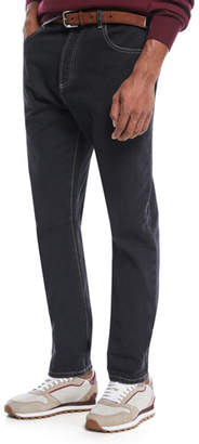 Brunello Cucinelli Men's Contrast-Topstitched Denim Pants