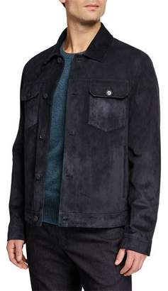 Loro Piana Men's Stafford Suede Trucker Jacket