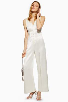 Topshop Womens Satin Twill Jumpsuit - Ivory