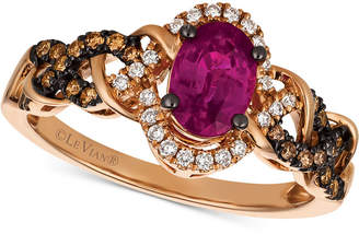 LeVian Le Vian Chocolatier Certified Ruby (1 ct. t.w.) & Diamond (1/4 ct. t.w.) Ring in 14k Rose Gold