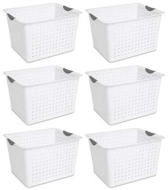 Laundry by Shelli Segal Sterilite Deep Ultra Plastic Kitchen Storage Organizer Baskets (6 Pack)