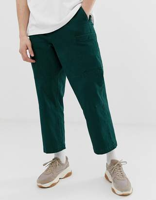 Asos cargo pants in dark green heavyweight twill