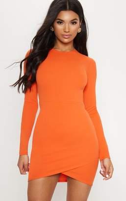 PrettyLittleThing Bright Orange Long Sleeve Wrap Skirt Bodycon Dress