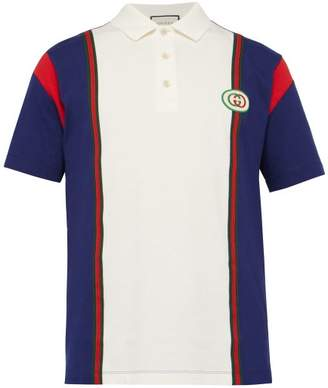 Gucci Logo Patch Cotton Polo Shirt - Mens - White Multi