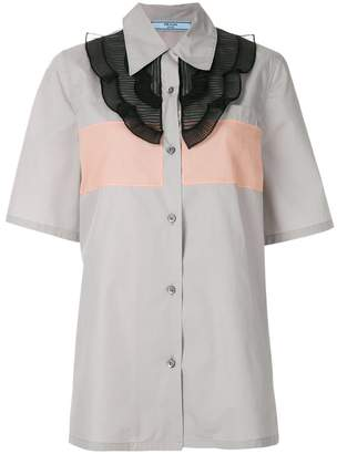 Prada pleated bib short sleeve shirt