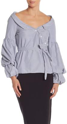 Do & Be Do + Be Pinstripe Puff Sleeve Off-the-Shoulder Blouse
