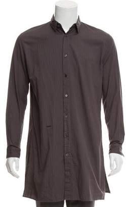 Robert Geller Striped Longline Button-Up Shirt w/ Tags