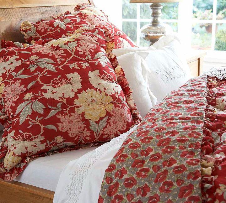 Vintage Floral Quilt & Sham - Red