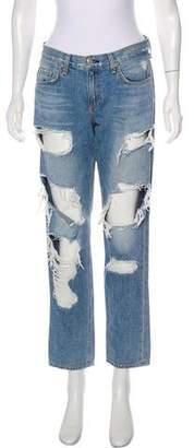 Rag & Bone Mid-Rise Straight-Leg Boyfriend Jeans