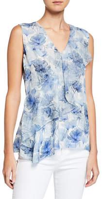Elie Tahari Eda Floral Watercolor-Print V-Neck Sleeveless Blouse w/ Flounce Trim