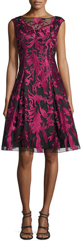 Aidan MattoxAidan Mattox Embroidered Fit-and-Flare Cocktail Dress, Merlot/Black