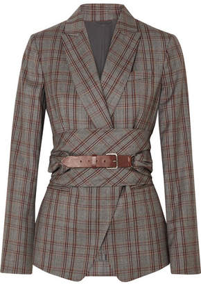 ... Brunello Cucinelli Belted Plaid Wool Blazer - Gray