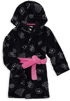 Petit Lem Little Girl's & Girl's Hooded Graphic Robe