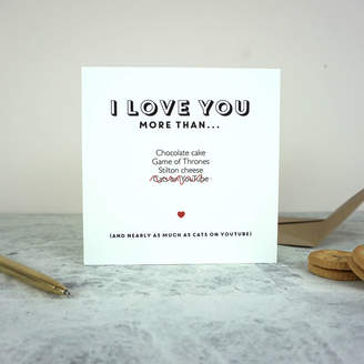 Design Studio Jeeves & Co. I Love You More Than... Anniversary Card