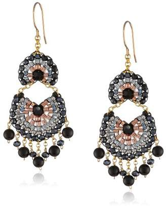 Miguel Ases Simulated Onyx and Hematite Multi-Drop Fan Earrings
