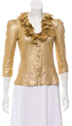 Ralph Lauren Metallic Ruffle Blouse
