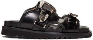 Toga Pulla Black Buckles Flat Sandals
