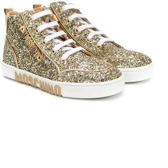 Moschino Kids hi-top glitter sneakers