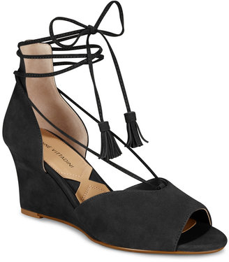 Adrienne Vittadini Marcey Lace-Up Wedges Women's Shoes $99 thestylecure.com