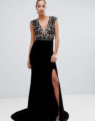 Forever Unique embellished plunge maxi dress