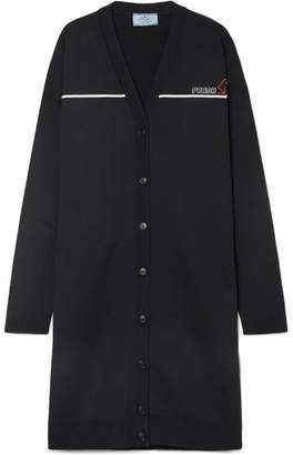Prada Oversized Intarsia Wool-blend Cardigan - Black