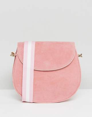 Glamorous Suedette Saddle Bag in Pink