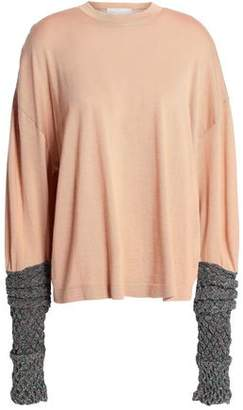 Esteban Cortazar Metallic-Paneled Merino Wool Silk And Cashmere-Blend Sweater