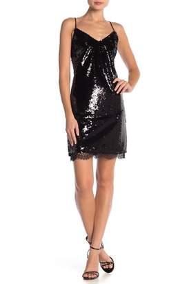 ABS by Allen Schwartz Sequined V-Neck Mini Dress
