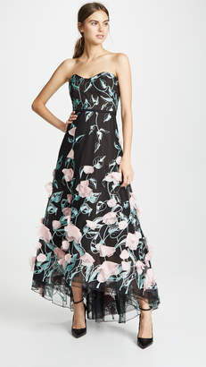 Marchesa Strapless High Low Embroidered Gown with 3D Flowers