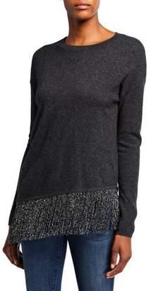 Neiman Marcus Asymmetric Metallic Fringe Crewneck Cashmere Sweater