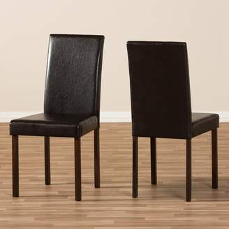 Baxton Studio Andrew Faux-Leather Dining Chair 2-piece Set