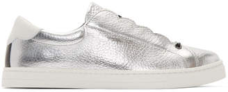 Fendi Silver Metallic Knit Logo Sneakers